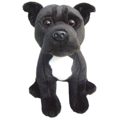 "Staffordshire Bull Terrier Black 12"" Collectable Soft Toy Dog"